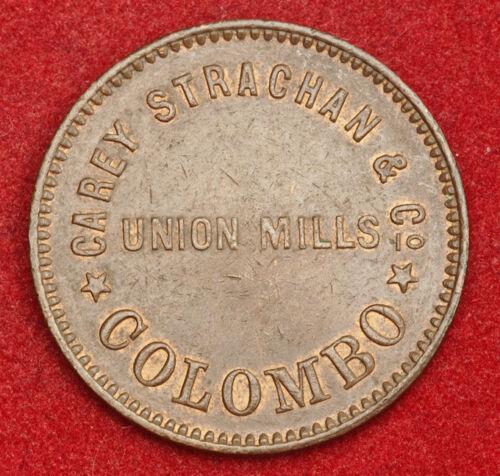 "Ceylon 1869 Carey Strachan /& Co Copper 1 Cent /""Union Mills of Colombo/"" Token."