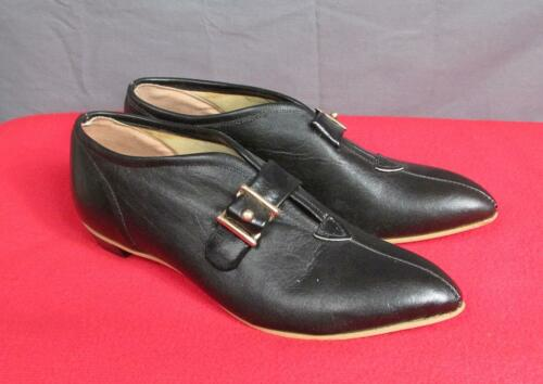 Vintage 1960s Fancy Flats Mod Black Leather Shoes