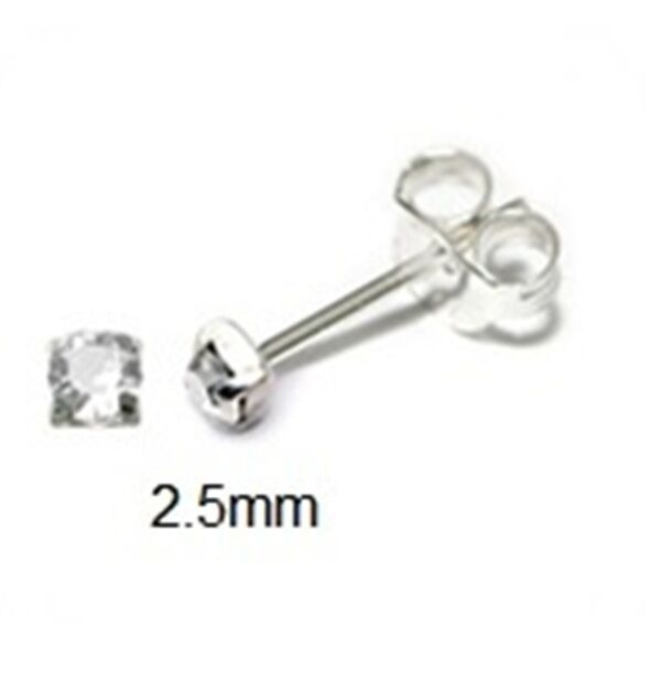 S 925 Sterling Silver Tiny Small 2 5mm Round Clear Crystal Stud Earrings Ebay