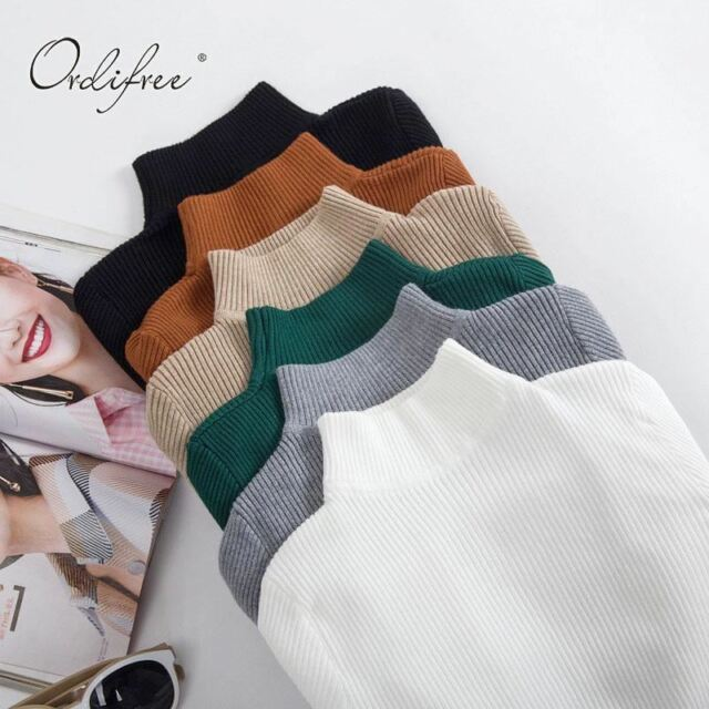 Cashmere Knitted Sweater Slim Jumper Turtleneck Warm Women Sweaters Pullovers