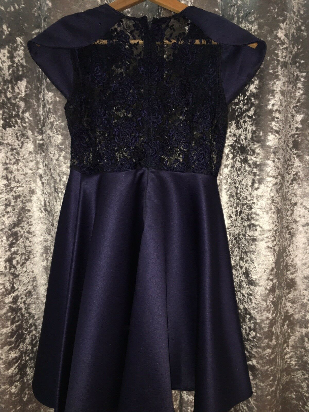 Handmade Prom Prom Prom Navy, silk and lace dress. Fits Dimensione 8-10 8d01c3