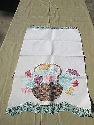 Table Runner Topper Vtg Embroidered Crochet Edges Flowers in Basket Huck Cloth