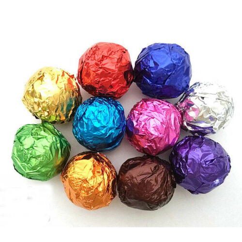 100pcs Square Foil Wrappers Package Sweets Candy Chocolate Lolly Wedding Decor