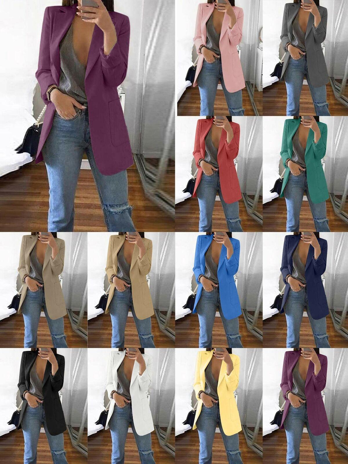 Womens Longline Blazer Suit Lapel Slim Fit Coat Casual Work Jacket Outerwear UK