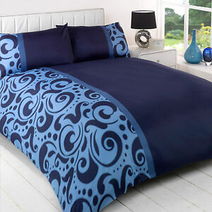 barola navy blue swirl dot modern contemporary duvet quilt cover bedding set ebay. Black Bedroom Furniture Sets. Home Design Ideas