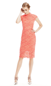 NWT LELA pink corded lace cap sleeve sheath midi dress in coral pink 10