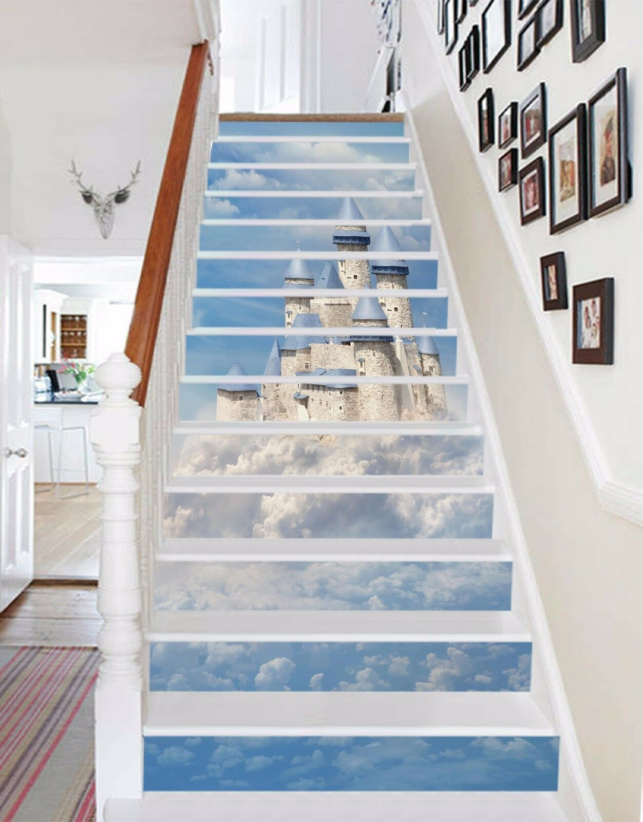 3D Sky Castle 036 Stairs Risers Decoration Photo Mural Vinyl Decal Wallpaper US