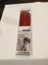 Staedtler Tradition Drawing Pencils - 6b, 5b, 4b, 3b, 2b, B Pencil Grade - Red