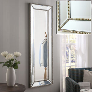 Hartland champagne silver full length long wall lawson for Silver long mirror