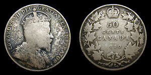 1910-Canada-Silver-50-Fifty-Cents-King-Edward-VII-Toned-VG-8
