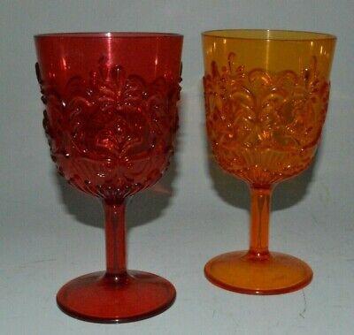 Vintage Plastic Jewel Gem Red Orange Plastic Goblet Pair Made In Taiwan Ebay