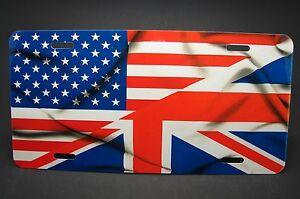 British American Flag Metal Car License Plate Union Jack
