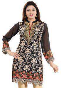 Women-Indian-Embroidery-Black-Long-Sleeves-Kurti-Tunic-Kurta-Shirt-Dress-AN02