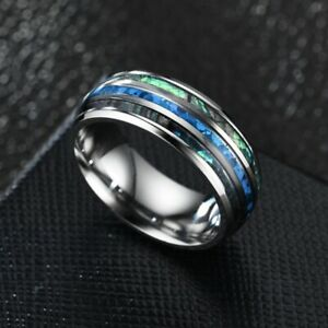 Men-Tungsten-Carbide-Inlaid-Abalone-Shell-Beveled-Steel-8MM-Ring-Band-Size-6-12