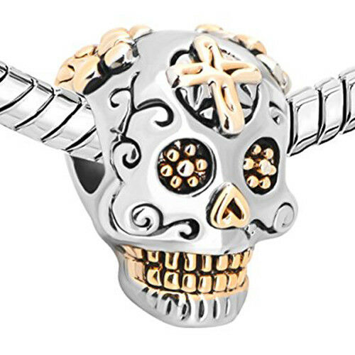 Premium Charm Skeleton Skull Death Bracelet Silver Bead Gold Plated Crystal