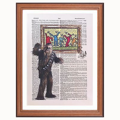 Chewbacca vs Keith Haring Star Wars dictionary page wall art print gift