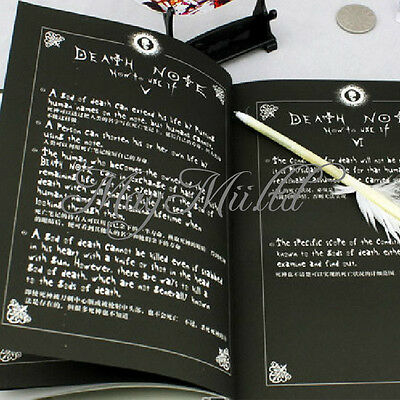 Death Note Cosplay Notebook & Feather Pen Book Anime Writing Journal  New Q