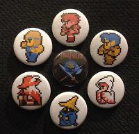 Final Fantasy Nes 7 Button Set - 1 Pinback Buttons Pins Ff1 Nintendo Earthbound