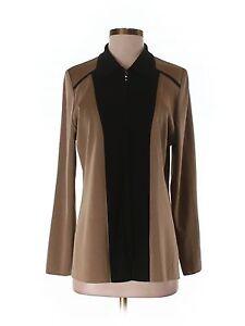 Women Exclusively Misook Brown Black Zip Front Jacket Tunic Long Sleeve S