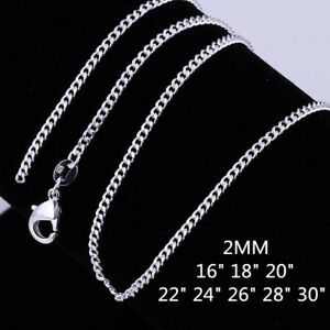 Wholesale New 925 Sterling Silver Filled 2mm Classic Chain Necklace For Pendants