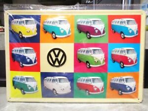 Blechschild-VW-Bulli-Collage-Metall-Schild-30-cm-Nostalgie-Metal-Shield-Neu