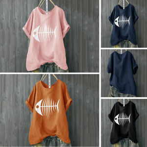 Womens-Cotton-Linen-Baggy-Tops-Summer-Loose-Short-Sleeve-Casual-T-Shirts-Blouse