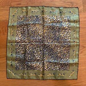 Vintage-Tiger-Animal-Print-Italy-Silk-Hand-Rolled-POCKET-SQUARE-Handkerchief