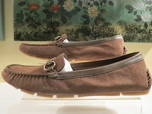 317416841f2 NWB WOMENS AUTHENTIC GUCCI BROWN SUEDE HORSE-BIT LOAFERS MOCCASIN ...