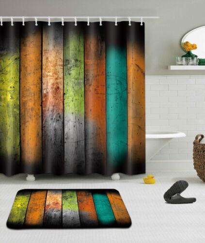 "72X72/""//72X79/""Bathroom Fabric Shower Curtain /& Mat Rug /&12Hook--Retro Wood 1596"