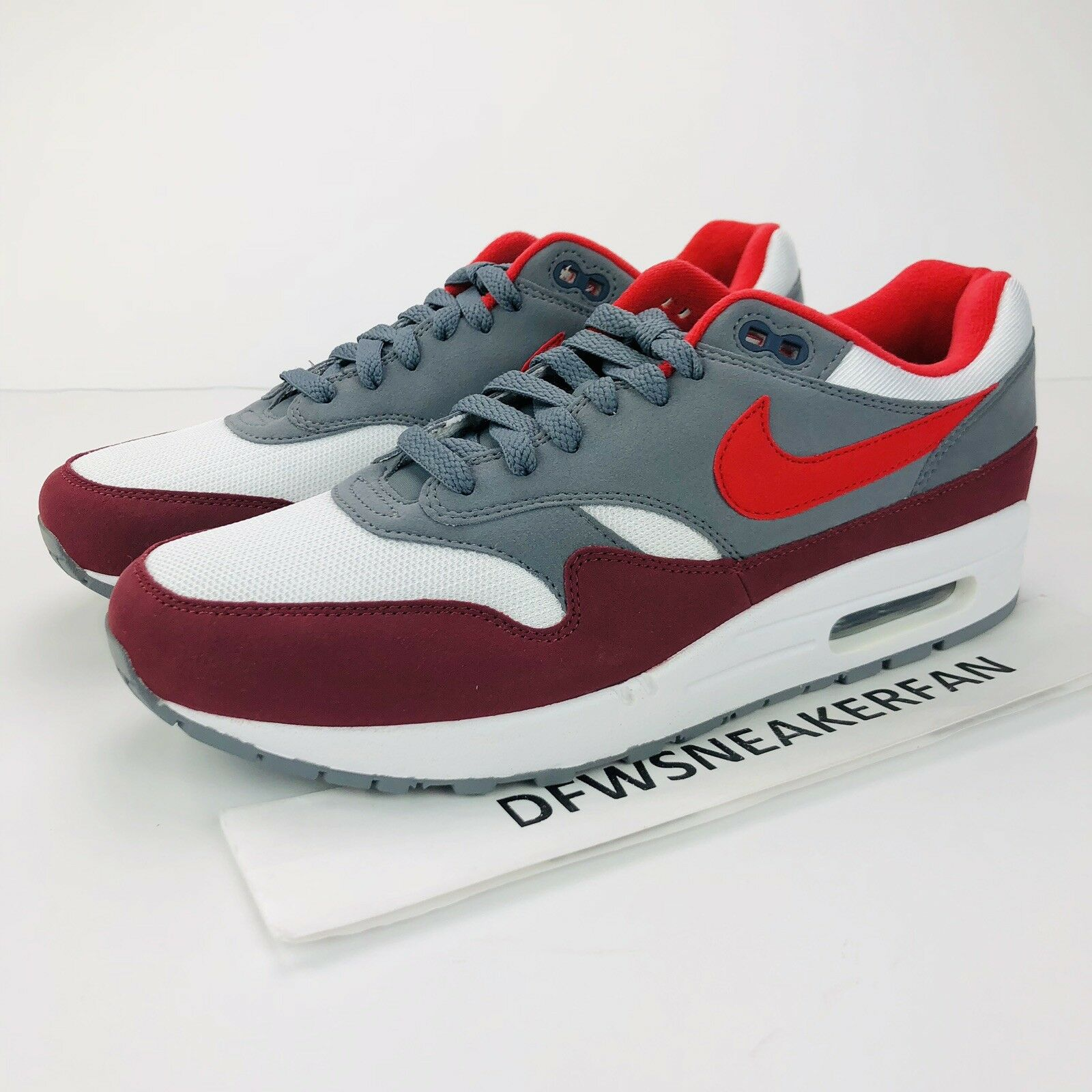 36c90f1f42 Nike Air Max 1 Men's 10 Red Cool Grey white AH8145-100 Size New ...