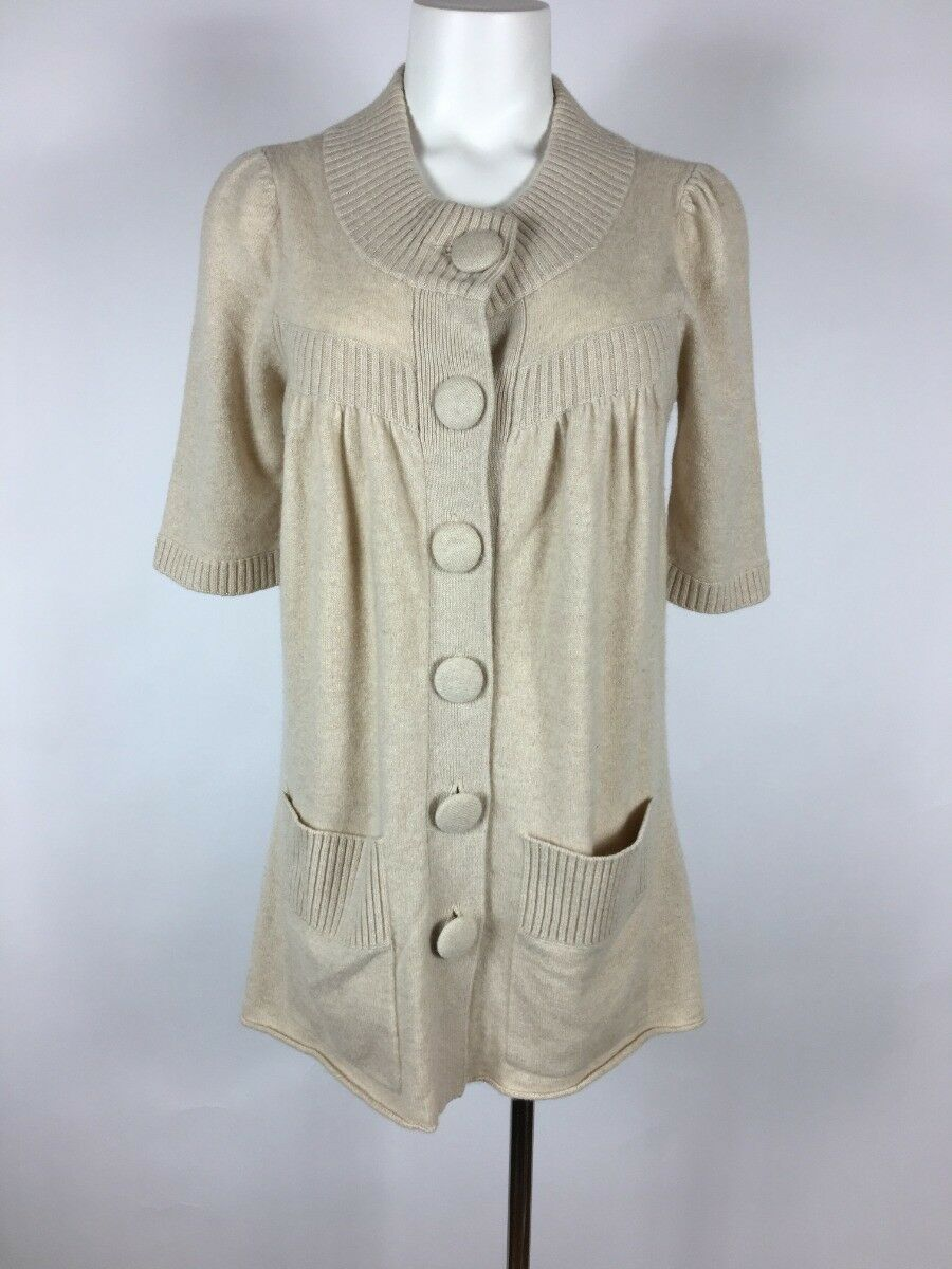 48636a2706d 100% CASHMERE - buttery cream cardigan Tunic sweater M soft DESIGNER ...