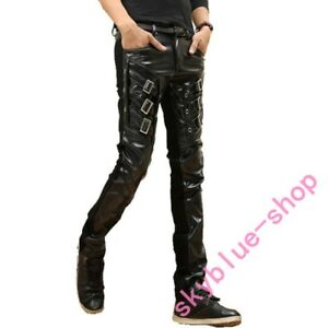 Mens punk Black Slim Fit Skinny PU Faux Leather Jeans Trousers Pants Buckle new