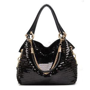 Women-Lady-Leather-Shoulder-Bag-Bling-Glitter-Sequins-Messenger-Handbag-Tote