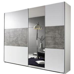 Details zu Schwebetürenschrank weiß / grau B 261 Schlafzimmer Schiebetüren  Spiegelschrank