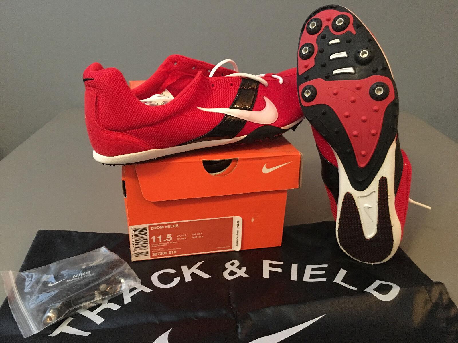 NIB Mens Nike ZOOM Miler Track & Field Track Spikes (307202) Red   Black 11.5