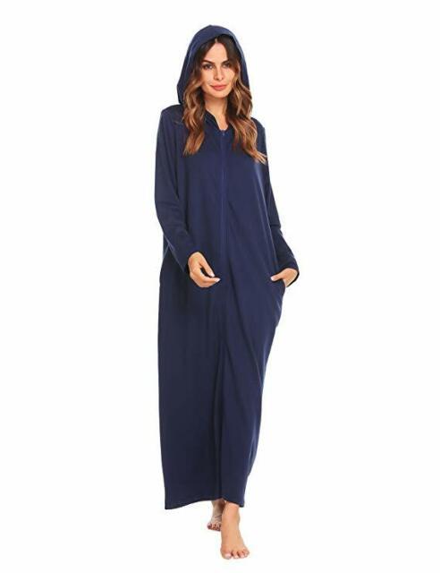 discount up to 60% get new rational construction Women's Dark Blue Bathrobe X Large Lightweight Zipper Zip Front Hooded Spa  Robe