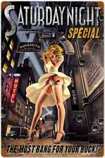 Saturday Night Special Pin Up Pinup Girl Tin Metal Steel Sign 24x36