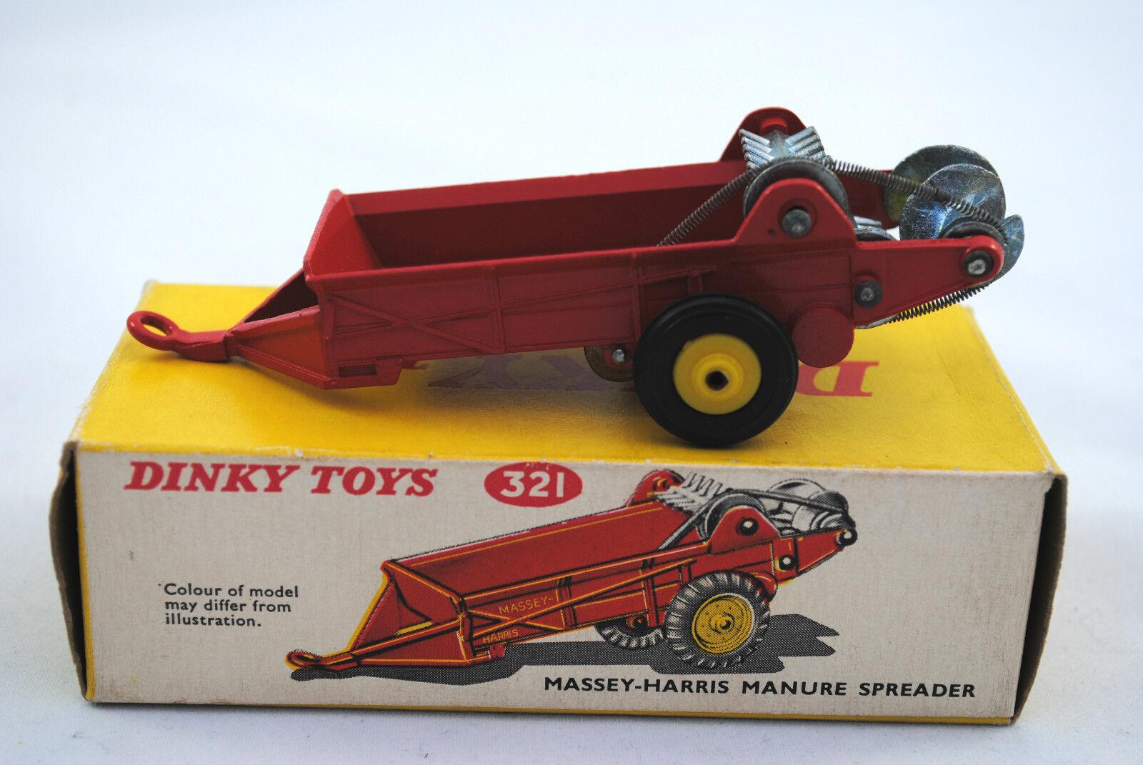 auténtico Dinky 321 Massey-Harris esparcidor esparcidor esparcidor de estiércol con rojoores en movimiento y Negro Ruedas en Caja  envio rapido a ti