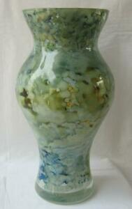 Genuine Italian Art Glass Vase Franco Italy Green tones No 967