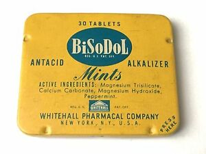 Vintage Tin BiSoDol Mints Whitehall Pharmacal Co Alkalizer Mints Empty Tin Container