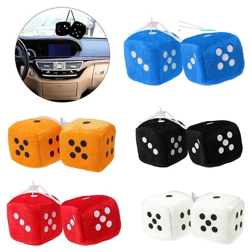 Plush Dice Rear View Mirror Car Pendant Charms Ornament Hanging Decor Welcome Crafts