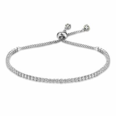Swarovski Crystals Tennis Bracelet Silver Slide Adjust New | eBay
