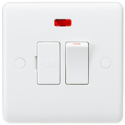 White Curved Edge Wiring Accessories 13a Switched Fused Spur Unit With Neon 5055832972952 Ebay