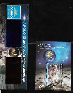 URUGUAY-2019-APOLO-11-SPACE-MOON-LANDING-ANIVERSARY-S-SHEET-3D-WITH-GLASSES-MNH