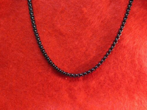 """STAINLESS STEEL BLACK 4MM SMOOTH BOX  7/""""-60/"""" CHAIN NECKLACE-BLACK"""
