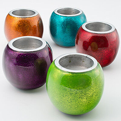 Recycled aluminium tealight holder in red amber turquoise purple lime