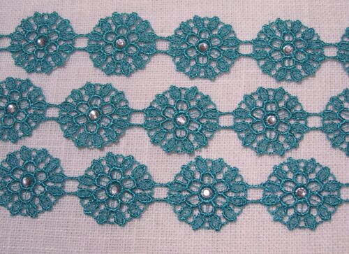 multiple 10 fleurs DENTELLE APPLIQUE ROSACE FILS ÉCOSSE STRASS 22 mm AD13