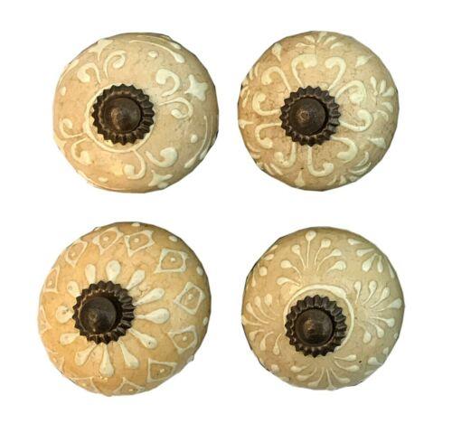 Set Of Four Pastel Tan Coloured Door Knobs