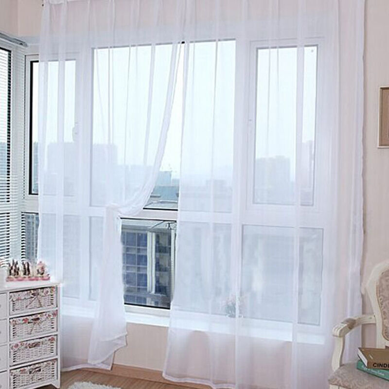 2Panels 1Pair Net/&Voile aa Top Plain Voile Curtain Panel-White Cream Colours