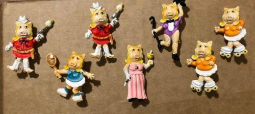 7 Vintage Enamel Coated Pins Miss Piggy Pig